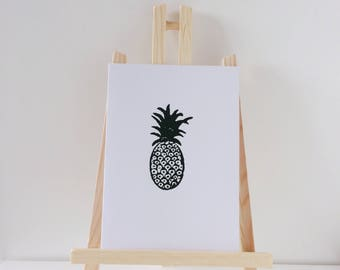 Block printed blank greetings cards | pineapple | bicycle, congratulations