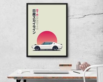 Nissan Skyline C110 GT-R Car Japanese Police Car Kenmeri Poster Art Print (Side)