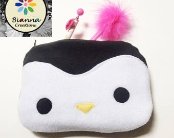 """9x6"""" Kawaii Baby Penguin Face Pouch, Japanese Anime Lover Animal Pen Pencil Storage, MakeUp Cosmetic Bag, 3DS Kids Travel Buddy Case"""