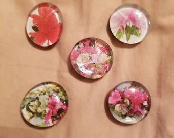 Floral themed gem magnets