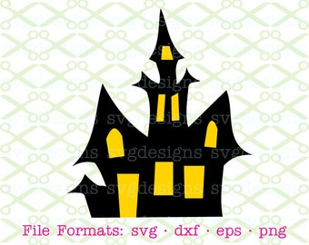 Haunted House SVG, Dxf, Eps & Png. Digital Cut Files for Cricut, Silhouette; Halloween Svg, Haunted Mansion Halloween Clipart Svg Cut FIle