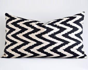 Black ikat pillow, ikat pillows, Designer Geometric Pillow Throw Pillow, Decorative Pillows, Black White Pillow, Boho Decor