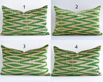Handwoven Velvet Ikat Pillow Cover Green Polka Dots Handmade Ikat Silk Velvet Pillow Cover Green Velvet Pillow Green White Pillow Accent