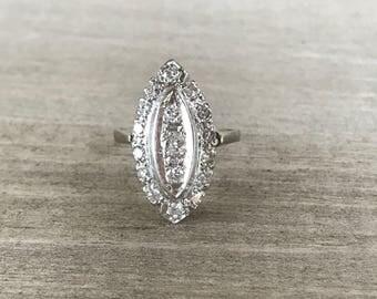 14k diamond navette vintage cluster ring