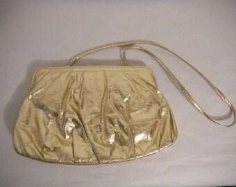 Vintage purse, vintage clutch, gold leather purse, 1980s purse, gold clutch, vintage clothing