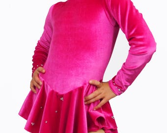 Figure Skating competition/test dress, turtle neck with hole on back, many colors and sizes! Velvet or Spandex.