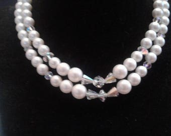 MidCentury Double Strand Necklace or Faux Pearls and Aurora Borealis Crystal Beads