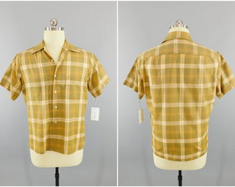 1960s Vintage Shirt / 60s Towncraft Shirt / Brown Plaid / Casual Shirt / Button Down /  JC Penney's Menswear / Preppy Mod / Country Club