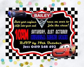 Cars Lightning McQueen birthday invitation