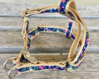 "5/8"" Wide Step-In Harness, Choose Your Style 5/8"" W Harness, Navy Floral Dog Harness"