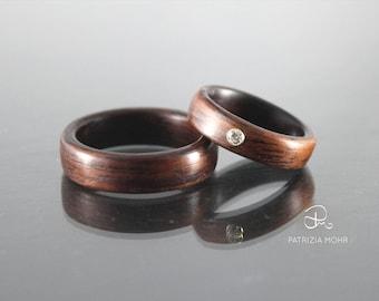 Bentwood wedding rings set, jacaranda rings, engagement ringset