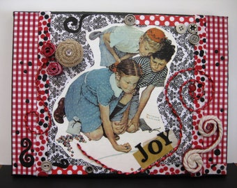 """Mixed Media Collage Art, Assemblage Art, Original, JOY, One of a Kind, On Wrapped Canvas, 9"""" x 12"""""""