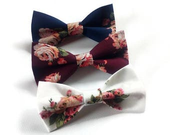 set of 3 dog cat bow ties matching pet lovers gift idea     burgundy floral navy    flowers white     roses bowties for men and    dogs