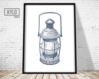 Nautical Illustration, Nautical Print, Nautical Poster, Nautical Wall Art, Nautical Lantern Print, Sea Print, Ocean Art, Nautical Hand Drawn