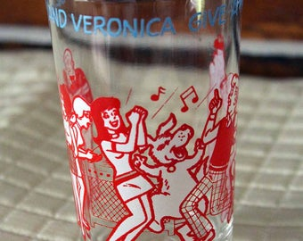 Betty and Veronica Juice Glass, Reggie Glass, Archie Comic Glass, 1973