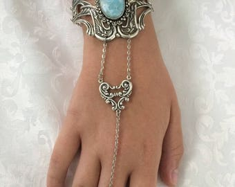 Larimar  filigree harness bracelet