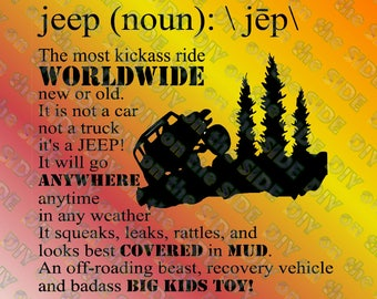 SVG Cut File Jeep Dictionary Meaning Kickass Instant Download
