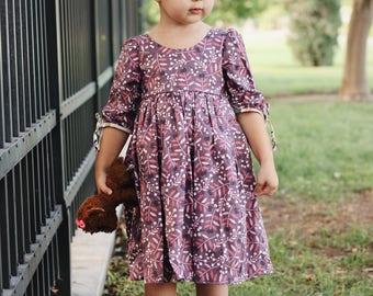 Fall Dress - Girls Fall dress - Girls Long sleeve dress - Ruffle dress - Girls dress with bows - girls purple dress - girls flower dress