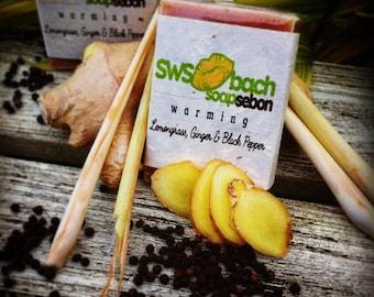 Warming Lemongrass, ginger and black pepper natural artisan cold pressed soap