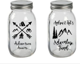 Personalized Coin Jar, Personalized Bank, Adventure Awaits Coin Jar, Adventure Fund Coin Jar, Piggy Bank