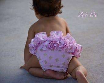Gold & pale pink butterfly print ruffle nappy, diaper cover, flutter butt!