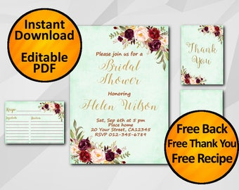Bridal Shower Invitation set Watercolor SALE 60% OFF Instant Download turquoise Editable free recipe free thank you free back X321t4