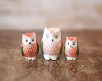 Trio of Porcelain Owl Ornaments
