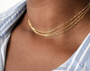 Figaro chain choker, gold chain choker, minimalist choker