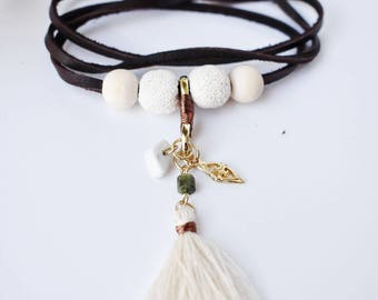 "Native Inspired Leather Wrap Bracelet/Necklace with White Diffusing Lava Beads Fits 6""-7"" Wrists"