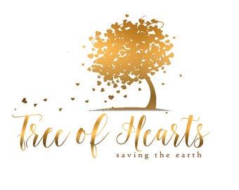 Gold Tree Logo / Heart Tree / Golden Foil Logo / Trees, Nature, Hearts / Gradient Gold / Gold Logo Design / Elegant Logo / Fancy Logo