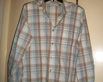 Vintage Blue, Brown Plaid Cotton Blend Blouse Size 16P