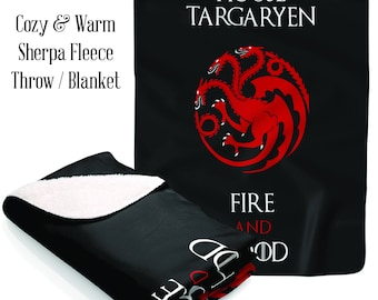 Game of Thrones Sherpa Fleece Blanket,House Targaryen Sigil and Motto, Living Room, Bedding, House Warming Gift,