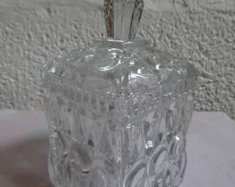 Pressed/Moulded Glass Lidded Pot/Sugar/Preserve/Mustard/Retro/Vintage/1970s