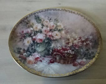 Boxed Bradford Exchange Collectors Plate/Garden Delights by Lena Liu/Floral & 24K Gold/Hand Decorated/Wall Decor/Home Decor/Collectable/1995