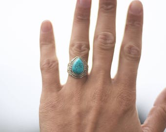 Sterling silver ring stone gemstone turquoise labradorite moonstone bague argent pierre pierre de lune adjustable