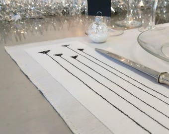 Table Place mat, doily, tablecloth, black and white