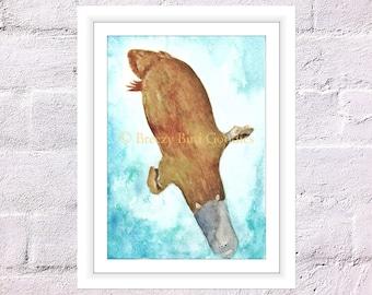 Platypus Print, Watercolor Platypus, Australian Platypus, Art for Home, Australian Animal Illustration, Swimming Platypus