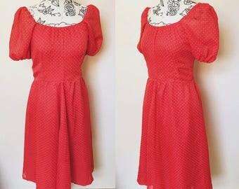 Vintage Scarlet Polka Dot Dress - UK Size 12/US Size 8