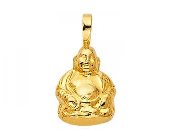 14K Solid Yellow Gold Buddha Pendant - Religious Necklace Charm