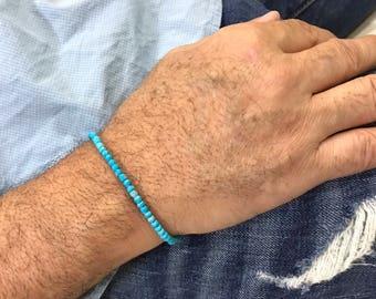 Turquoise Beaded Bracelet Mens Beaded Bracelet Mens Turquoise Bracelet Mens Jewelry Gift for him Gift for husband Gift for Fathers Day Gift