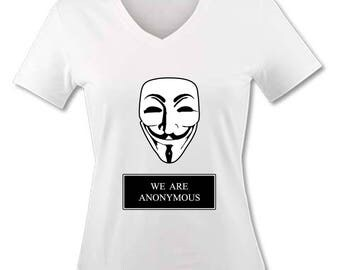 V neck women T-shirt - We are Anonymous