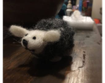 Needle felted grey sheep