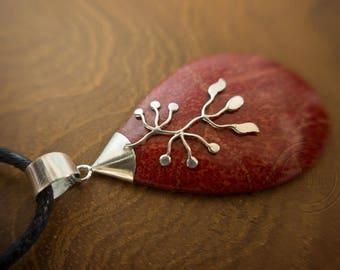 Red Jasper pendant, 925 sterling silver, Bali jewelry, Balinese jewellery, Boho, spiritual, gift of nature, energy