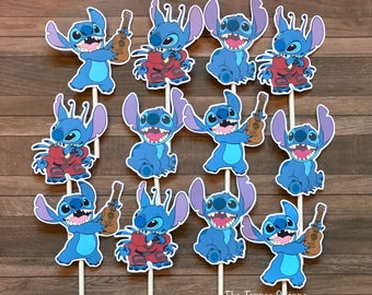LILO AND STITCH Cupcake Toppers / Cake Toppers / Die Cuts / Birthday Party / Decorations / Cake Pops / Supplies / Decor