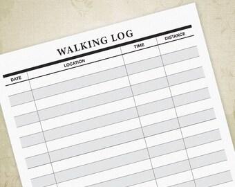 Walking Log Printable PDF for Walkers, Walking Tracker, Walking Form, Walker's Log, Digital File - INSTANT DOWNLOAD
