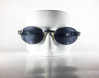 DIABLO Vintage Sunglasses Unisex Silver Metal Oval 1990s DIAS164P-1