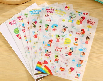 """Stickers """"My little friend"""" 6 pezzi/pieces set in assorted designs"""