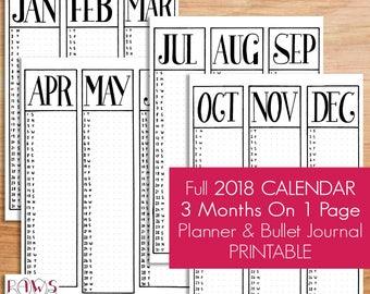 2018 Planner Bullet Journal Kit Monthly A5 Planner