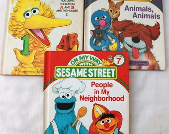THE SESAME STREET 1978 & 1989 ~ Library, On my Way ~ Lot 3 Books