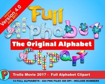 Trolls - The Original Alphabet Clipart - Updated July 2017 - 424 png files 14 Full Alphabets 300 dpi - Trolls Party